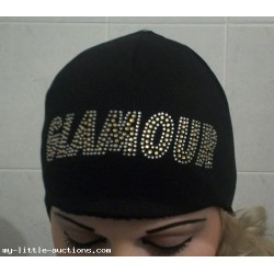 GLAMOUR FASHION WINTER WARM HAT FAUX FUR LINED WITH GLAMOUR IN RHINESTONE TO FRONT